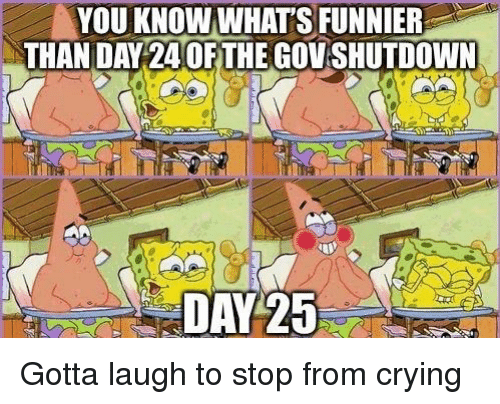 Crying, Day, and Whats: VOU KNOW WHATS FUNNIER  THAN DAY 24 OFTHE GOV SHUTDOWN  DAY 25 Gotta laugh to stop from crying