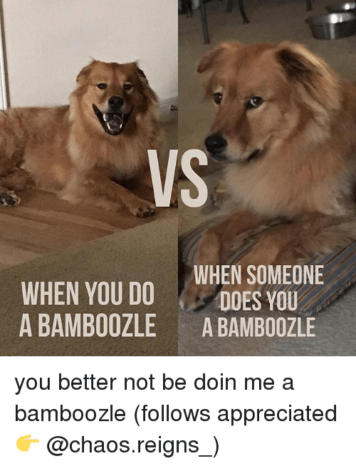 Memes, 🤖, and You: VS  WHEN YOU DOWHEN SOMEONE  A BAMBOOZLE A BAMBOOZLE you better not be doin me a bamboozle (follows appreciated 👉 @chaos.reigns_)