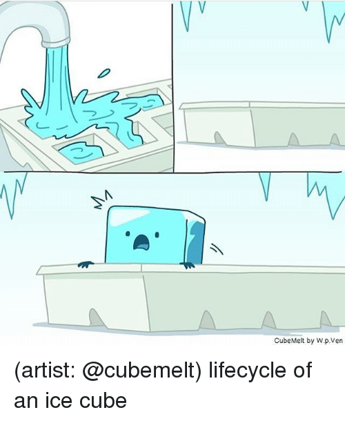 Ice Cube, Memes, and Artist: Vy  /V  CubeMelt by W.p.Ven (artist: @cubemelt) lifecycle of an ice cube