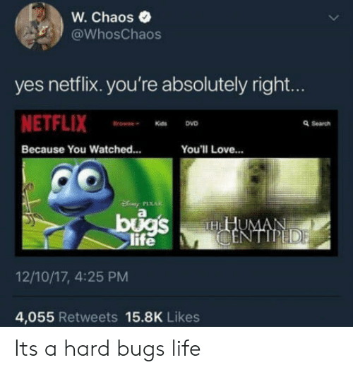 Life, Love, and Netflix: W. Chaos  @WhosChaos  yes netflix. you're absolutely right...  NETFLIX  Because You Watched..  Q Search  You'll Love...  PIXAR  il  TH  life  12/10/17, 4:25 PM  4,055 Retweets 15.8K Likes Its a hard bugs life