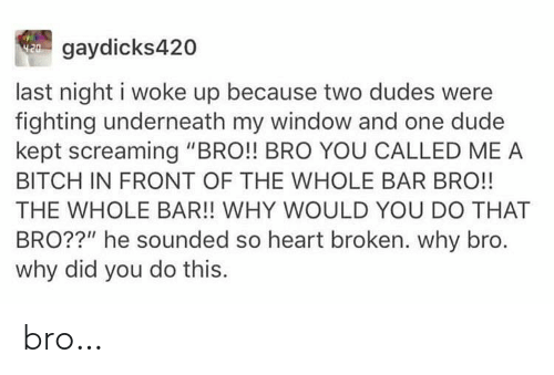 "broken: W gaydicks420  last night i woke up because two dudes were  fighting underneath my window and one dude  kept screaming ""BRO!! BRO YOU CALLED ME A  BITCH IN FRONT OF THE WHOLE BAR BRO!!  THE WHOLE BAR!! WHY WOULD YOU DO THAT  BRO??"" he sounded so heart broken. why bro.  why did you do this. bro…"