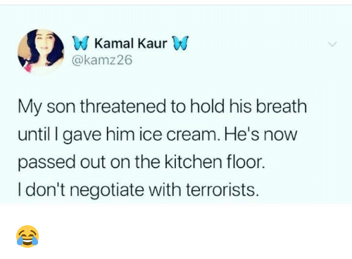 Dank, Ice Cream, and 🤖: W Kamal KaurW  @kamz26  My son threatened to hold his breath  until gave him ice cream. He's now  passed out on the kitchen floor.  I don't negotiate with terrorists. 😂