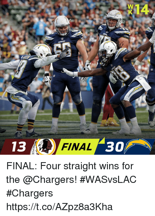 Memes, Chargers, and 🤖: W14  13  FINAL  30 FINAL: Four straight wins for the @Chargers! #WASvsLAC  #Chargers https://t.co/AZpz8a3Kha