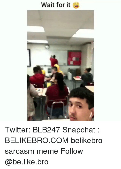 Be Like, Meme, and Memes: Wait for it E Twitter: BLB247 Snapchat : BELIKEBRO.COM belikebro sarcasm meme Follow @be.like.bro