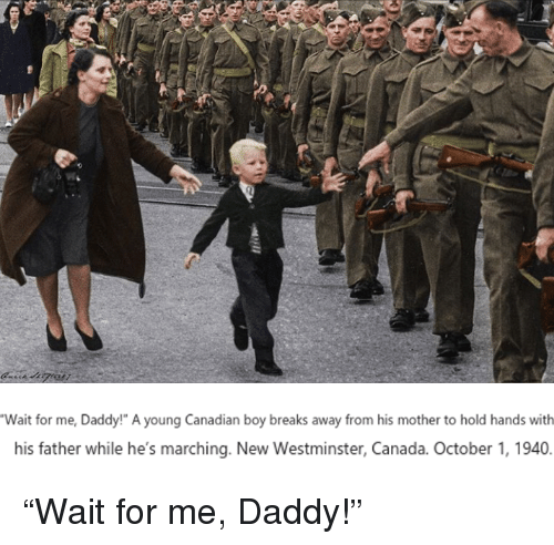 """Marching: Wait for me, Daddy!"""" A young Canadian boy breaks away from his mother to hold hands with  his father while he's marching. New Westminster, Canada. October 1, 1940. <p>&ldquo;Wait for me, Daddy!&rdquo;</p>"""