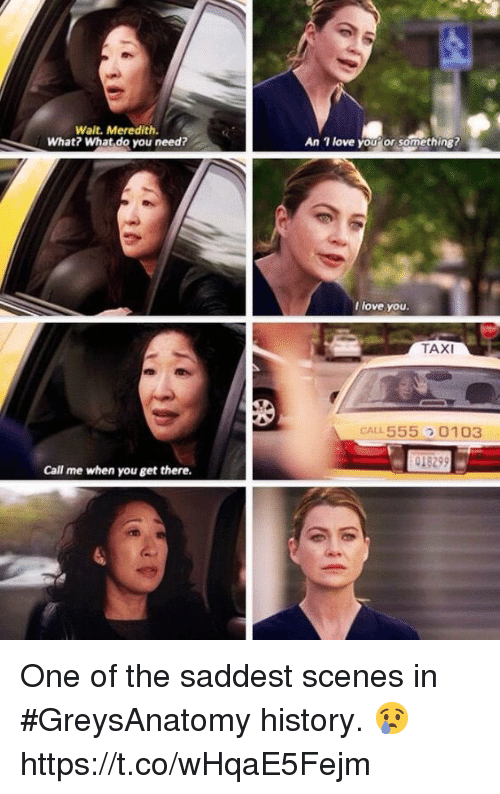 An L: Wait. Meredith.  What? What do you need?  1 love youor something?  An  l love you.  TAXI  CAL L 555  0103  Call me when you get there. One of the saddest scenes in #GreysAnatomy history. 😢 https://t.co/wHqaE5Fejm