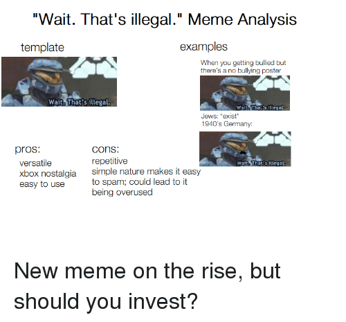 """Meme, Nostalgia, and Xbox: """"Wait. That's illegal."""" Meme Analysis  template  examples  When you getting bullied but  there's a no bullying poster  Wait. That's illegal  Wait.That's illegal  Jews: *exist*  1940's Germany:  pros:  COns:  repetitive  versatile  xbox nostalgia  easy to use  Wait. That's illegal  simple nature makes it easy  to sp  being overused  am; could lead to it"""