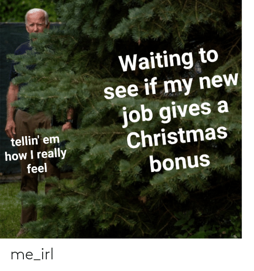 I Really: Waiting to  see if my new  job gives a  Christmas  bonus  tellin' em  how I really  feel me_irl