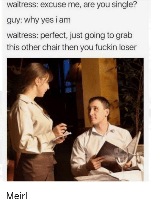 Are You Single: waitress: excuse me, are you single?  guy: why yes i am  waitress: perfect, just going to grab  this other chair then you fuckin loser Meirl