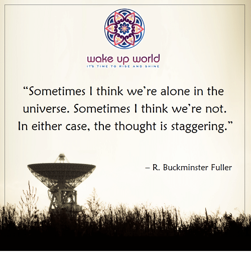 """Being Alone, Time, and World: wake up world  IT'S TIME TO RISE AND SHIN E  """"Sometimes I think we're alone in the  universe. Sometimes 1 think we're not.  In either case, the thought is staggering  R. Buckminster Fuller"""