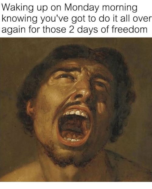 Monday, Freedom, and Got: Waking up on Monday morning  knowing you've got to do it all over  again for those 2 days of freedom