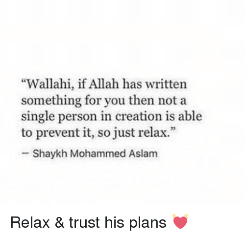"Just Relaxing: ""Wallahi, if Allah has written  something for you then not a  single person in creation is able  to prevent it, so just relax.""  Shaykh Mohammed Aslam Relax & trust his plans 💓"