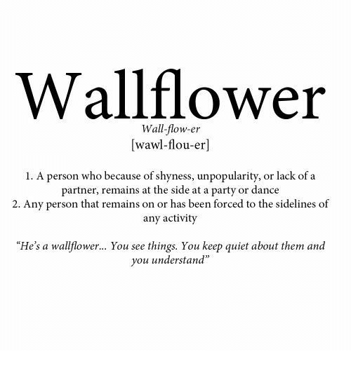 "Party, Quiet, and Dance: Wallflower  Wall-flow-er  [wawl-flou-er]  1. A person who because of shyness, unpopularity, or lack of a  partner, remains at the side at a party or dance  2. Any person that remains on or has been forced to the sidelines of  any activity  ""He's a wallflower... You see things. You keep quiet about them and  you understand"