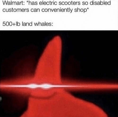 Walmart, Shop, and Can: Walmart: *has electric scooters so disabled  customers can conveniently shop*  500+lb land whales :