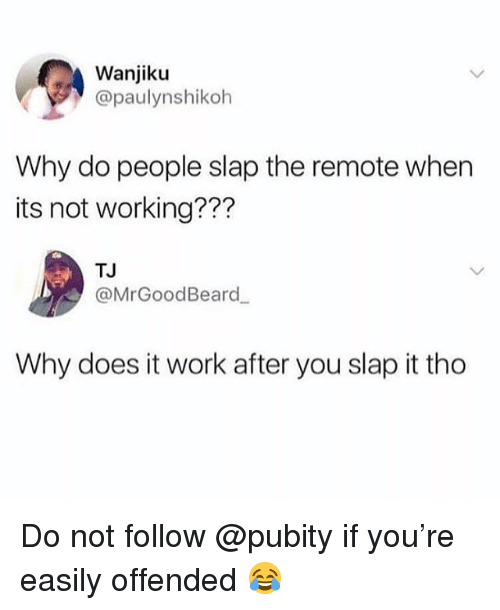 Memes, Work, and 🤖: Wanjiku  @paulynshikoh  Why do people slap the remote when  its not working???  TJ  @MrGoodBeard  Why does it work after you slap it tho Do not follow @pubity if you're easily offended 😂