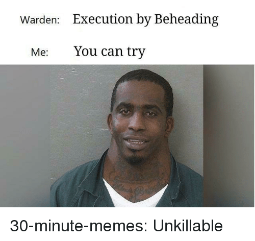 Memes, Tumblr, and Blog: Warden:  Execution by Beheading  Me: You can try 30-minute-memes:  Unkillable