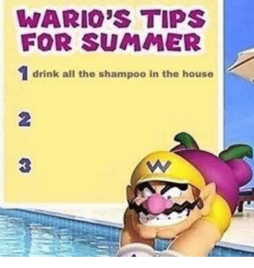 Summer, House, and All The: WARIO'S TIPS  FOR SUMMER  1 drink all the shampoo in the house  0  3