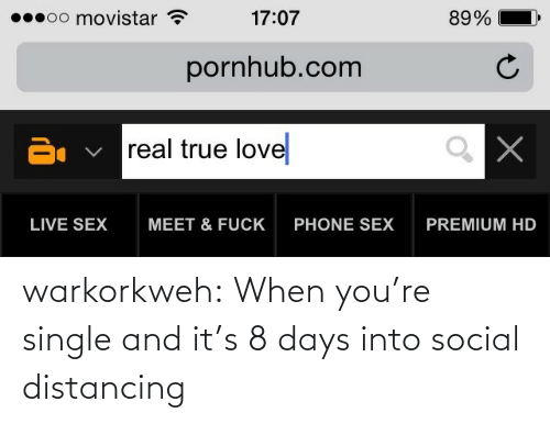 When Youre: warkorkweh:  When you're single and it's 8 days into social distancing