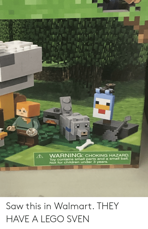 Children, Lego, and Saw: WARNING: CHOKING HAZARD  Toy contains small parts and a small ball.  Not for children under 3 years. Saw this in Walmart. THEY HAVE A LEGO SVEN