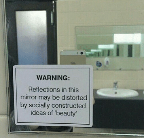 warning: WARNING:  Reflections in this  mirror may be distorted  by socially constructed  ideas of 'beauty