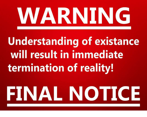 Existance: WARNING  Understanding of existance  will result in immediate  termination of reality!  FINAL NOTICE