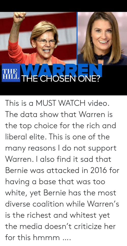 liberal: WARREN  THE  ITHE CHOSEN ONE? This is a MUST WATCH video. The data show that Warren is the top choice for the rich and liberal elite. This is one of the many reasons I do not support Warren. I also find it sad that Bernie was attacked in 2016 for having a base that was too white, yet Bernie has the most diverse coalition while Warren's is the richest and whitest yet the media doesn't criticize her for this hmmm ….