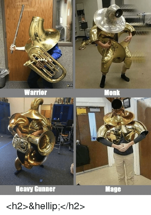 Warrior, Monk, and Mage: Warrior  Monk  Heavy Gunner  Mage <h2>&hellip;</h2>