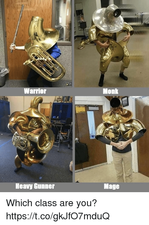 Video Games, Warrior, and Monk: Warrior  Monk  Heavy Gunner  Mage Which class are you? https://t.co/gkJfO7mduQ