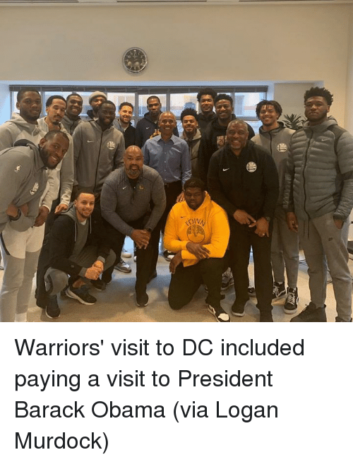 Obama, Barack Obama, and Warriors: Warriors' visit to DC included paying a visit to President Barack Obama  (via Logan Murdock)
