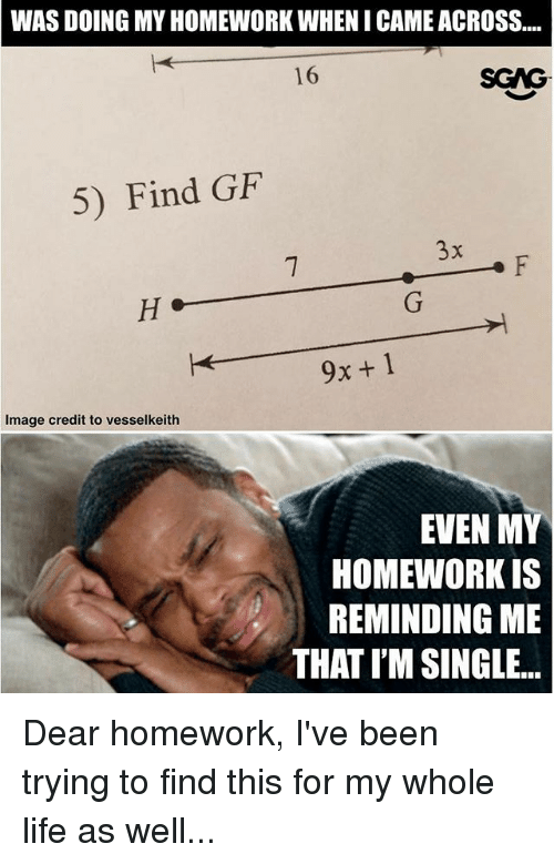 dears: WAS DOING MY HOMEWORK WHENI CAME ACROSS...  16  SGAG  5) Find GiF  9x+1  Image credit to vesselkeith  EVEN MY  HOMEWORK IS  REMINDING ME  THAT I'M SINGLE. Dear homework, I've been trying to find this for my whole life as well...