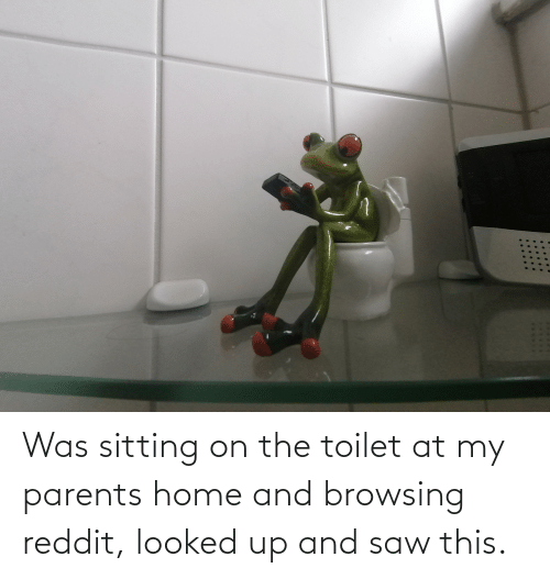 Browsing: Was sitting on the toilet at my parents home and browsing reddit, looked up and saw this.