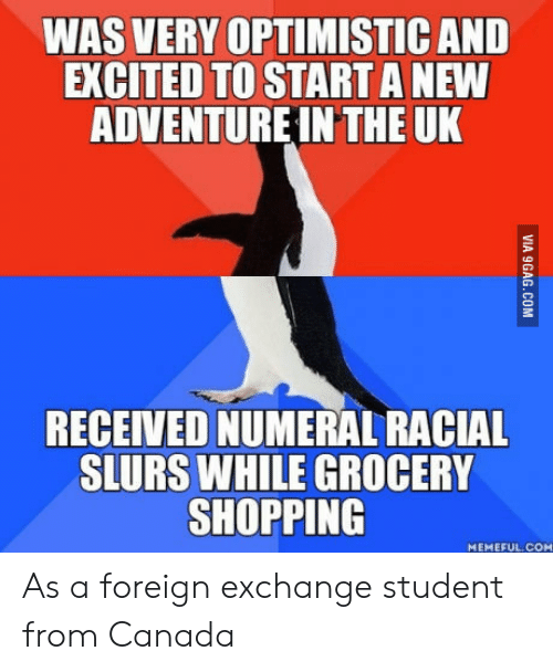 Shopping, Canada, and Optimistic: WAS VERY OPTIMISTIC AND  EXCITED TO START A NEW  ADVENTUREIN THE UK  RECEIVED NUMERAL RACIAL  SLURS WHILE GROCERY  SHOPPING  MEMEFUL COM As a foreign exchange student from Canada