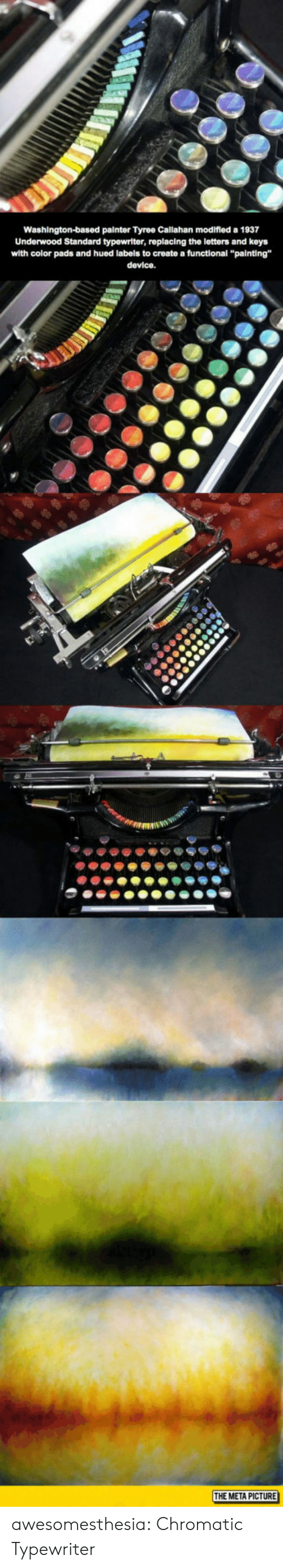"Tumblr, Blog, and Create A: Washington-based painter Tyree Callahan modifled a 1937  Underwood Standard typewriter, replacing the letters and keys  with color pads and hued labels to create a functional ""painting""  device.  THE META PICTURE awesomesthesia:  Chromatic Typewriter"