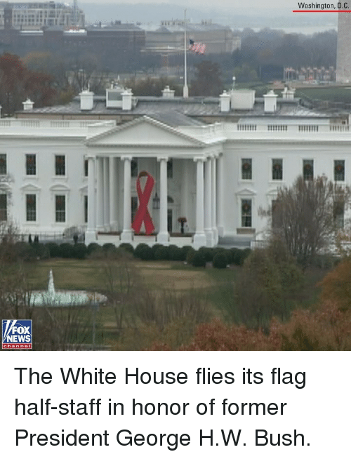Memes, White House, and House: Washington, D.C.  FOX  EWS  chan nol The White House flies its flag half-staff in honor of former President George H.W. Bush.