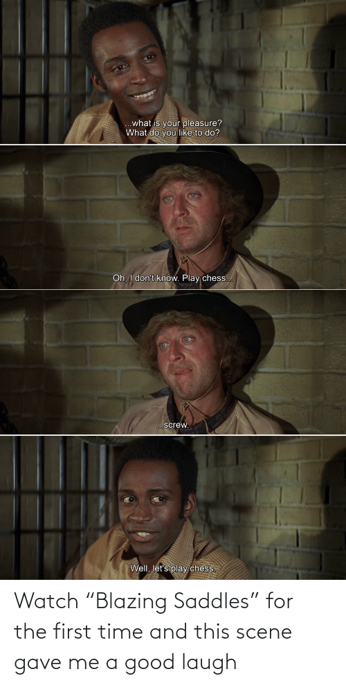 """scene: Watch """"Blazing Saddles"""" for the first time and this scene gave me a good laugh"""