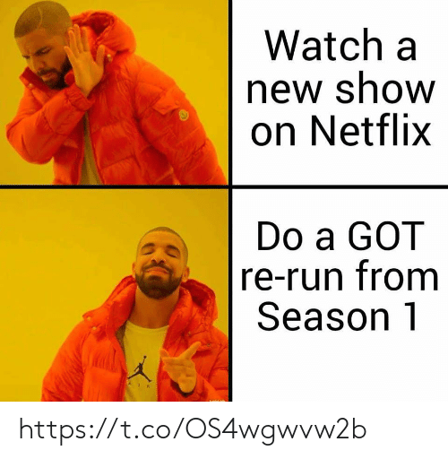 Netflix, Run, and Watch: Watch a  new show  on Netflix  Do a GOT  re-run from  Season 1 https://t.co/OS4wgwvw2b