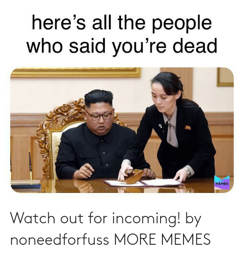 Watch Out: Watch out for incoming! by noneedforfuss MORE MEMES
