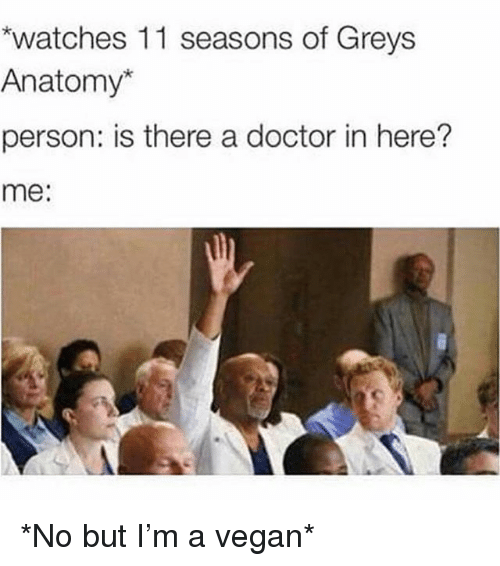 Doctor, Vegan, and Grey's Anatomy: watches 11 seasons of Greys  Anatomy*  person: is there a doctor in here?  me: *No but I'm a vegan*