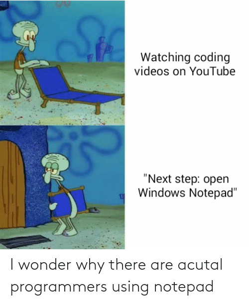 """Wonder: Watching coding  videos on YouTube  """"Next step: open  Windows Notepad"""" I wonder why there are acutal programmers using notepad"""