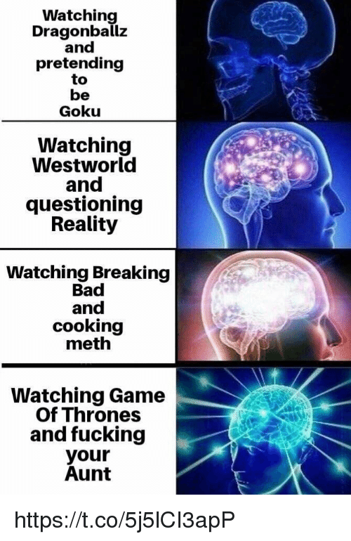 Bad, Breaking Bad, and Fucking: Watching  Dragonballz  and  pretending  to  be  Goku  Watching  Westworld  and  questioning  Reality  Watching Breaking  Bad  and  cooking  meth  Watching Game  Of Thrones  and fucking  your  Aunt https://t.co/5j5lCI3apP