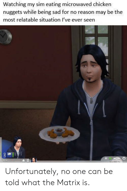 chicken nuggets: Watching my sim eating microwaved chicken  nuggets while being sad for no reason may be the  most relatable situation I've ever seen  Si  dvs Unfortunately, no one can be told what the Matrix is.