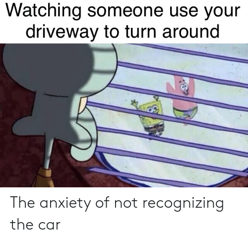 driveway: Watching someone use your  driveway to turn around The anxiety of not recognizing the car