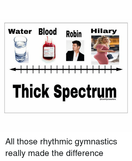 Memes, Gymnastics, and Water: Water Blood Robin  Hilary  Thick Spectrum All those rhythmic gymnastics really made the difference