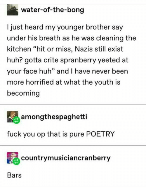 "Bong: water-of-the-bong  Ijust heard my younger brother say  under his breath as he was cleaning the  kitchen ""hit or miss, Nazis still exist  huh? gotta crite spranberry yeeted at  your face huh"" and I have never been  more horrified at what the youth is  becoming  amongthespaghetti  fuck you op that is pure POETRY  countrymusiciancranberry  Bars"