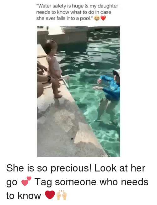 """Memes, Precious, and Pool: """"Water safety is huge & my daughter  needs to know what to do in case  she ever falls into a pool."""" She is so precious! Look at her go 💕 Tag someone who needs to know ❤️🙌🏼"""