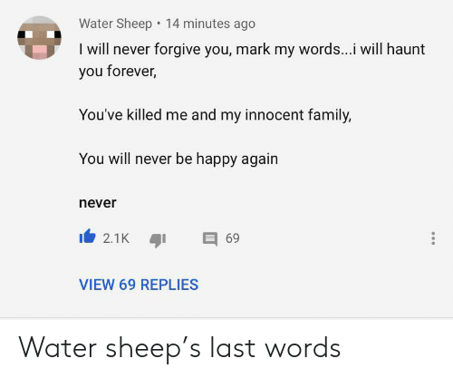 Family, Forever, and Happy: Water Sheep 14 minutes ago  I will never forgive you, mark my words...i will haunt  you forever,  You've killed me and my innocent family,  You will never be happy again  never  69  2.1K  VIEW 69 REPLIES Water sheep's last words