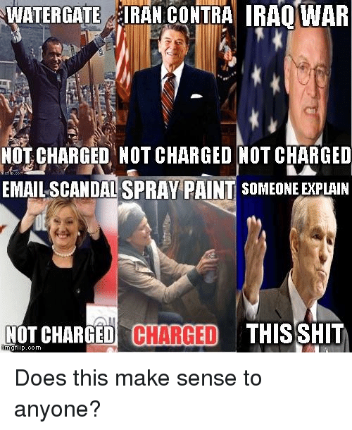 Doe, Memes, and Paintings: WATERGATE IRAN CONTRA IRAQ WAR  NOT CHARGED NOT CHARGED NOT CHARGED  EMAIL SCANDALSPRAY PAINT SOMEONE EXPLAIN  mgflip.com.  CHARGED  CHARGED  THIS SHIT  NOT Does this make sense to anyone?