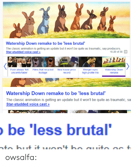 wenger: Watership Down remake to be 'less brutal  The classic animation is getting an update but it won't be quite as traumatic, say producers  Star-studded voice cast >»  16-20 of 30 I  FOR SALE  Posh always 'felt  uncomfortable  Films that recycled  footage  New house  record  Wenger eyes  high-profile trio  Watership Down  remake  price   Watership Down remake to be 'less brutal  The classic animation is getting an update but it won't be quite as traumatic, sa  Star-studded voice cast>»   be 'less brutal owsalfa: