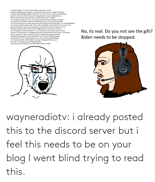 feel: wayneradiotv: i already posted this to the discord server but i feel this needs to be on your blog   I went blind trying to read this.