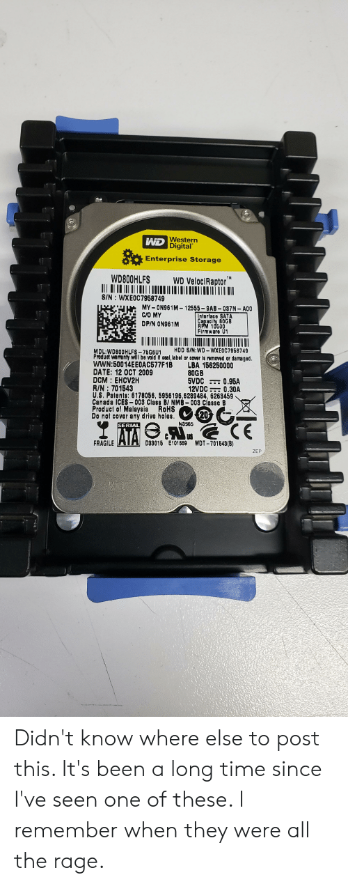 Holes, Velociraptor, and Canada: WD Western  Digital  So  Enterprise Storage  WD800HLFS  WD VelociRaptor  TM  S/N: WXEOC7958749  MY ON961M-12555-9AB 037N- A00  Interface SATA  Capaclty 80GB  RPM 10000  Firmware 01  C/O MY  DP/N ON961 M  HDD S/N:WD-WXEOC7968749  MDL:WD800HLFS-76G6U1  Product waranty will be vold If seal,label or cover Is removed or damaged.  wWN:50014EEOAC577F1B  DATE: 12 0CT 2009  DCM EHCV2H  R/N 701543  U.S. Patents: 6178056, 5956196,6289484, 6263459  Canada ICES 008 Class B/ NMB-003 Classe B  Product of Malaysia  Do not cover aný drive holes.  LBA 156250000  80GB  5VDC  12VDC 0.30A  0.95A  ROHS  20  N3565  CE  SERIAL  ATA  D33016 E101659 WOT-701643(B)  FRAGILE  ZEP Didn't know where else to post this. It's been a long time since I've seen one of these. I remember when they were all the rage.